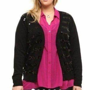 Torrid Sequin Stripe Cardigan Sweater Women's 3X
